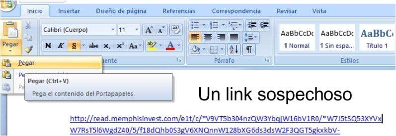 link sospechoso