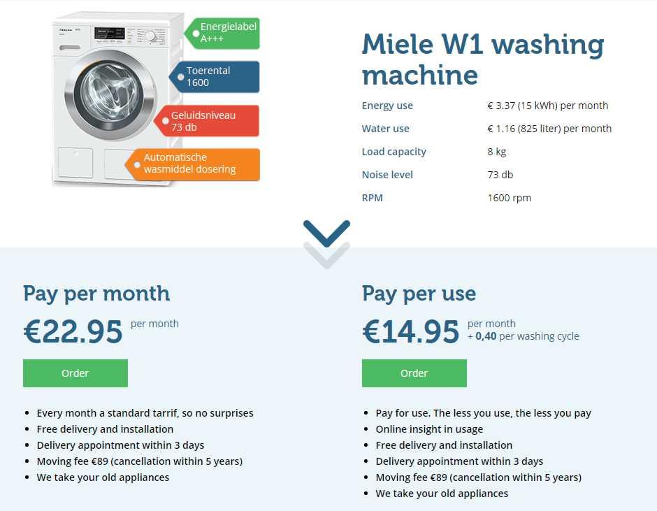 pagar por uso lavadora