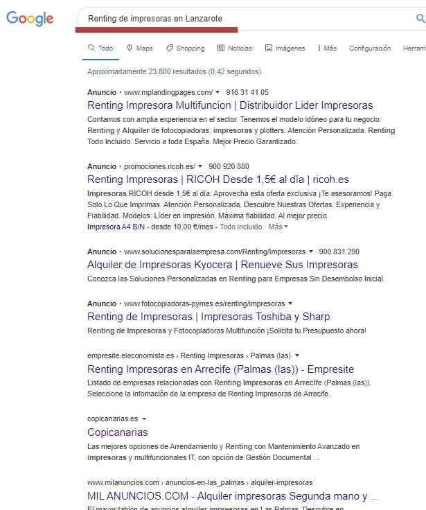 lanzarote-google-renting impresora