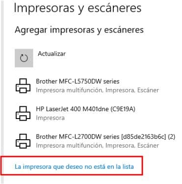 instalar impresora windows 10- impresora-no-lista