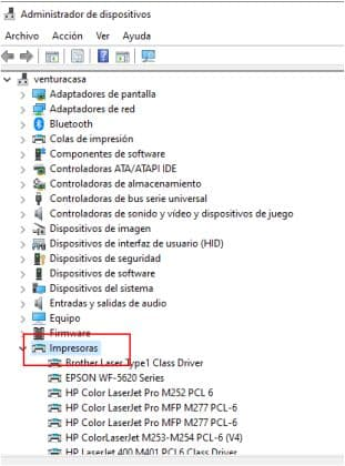 administrador dispositivos impresoras