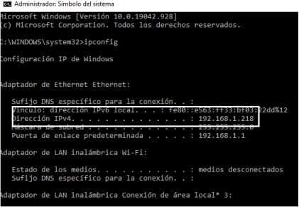 direccion IP ordenador