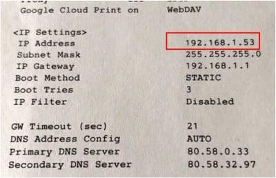 direccion ip impresora