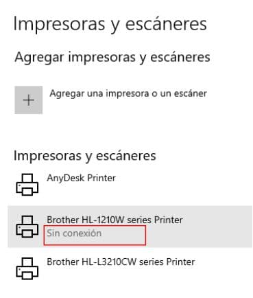 impresora sin conexión